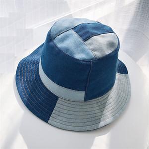 Bucket Hat Frauen-Sommer-Hüte und Kappen Patchwork aus gewaschenem Denim-Wannen-Hut Hip-festen breiten Rand Cotton Angeln Strand Cap Panama Hop