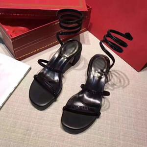 Frauen Sandalen Schlangen-Verpackung Sandelholz-Partei-Hochzeit Diamant-Schuhe Mode Blockabsatz Riemchen-Art-Schwarz-rote Farbe
