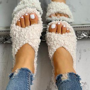 Women Slippers Solid Fluffy Crisscross Design Platform Fur Sole Luxury Mules Ladies Slides Party Sandals Zapatos De Mujer