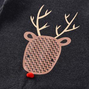 2019 nuevo bebé del mono de otoño / invierno de Navidad Elk impresión ropa y sombreros ropa de manga larga de algodón de la niña del mono