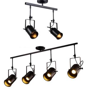 Vintage Industrial Ceiling Spotlight, Rétro Minimaliste 4 lampe noire cadre métallique Éclairage sur rail pour Office E27 Rail d'éclairage