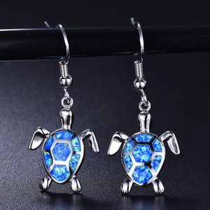 Hot Selling Ocean Life Animals Jewelry Silver Plated Fire Opal Sea Turtle Drop Earrings For Womens Gift