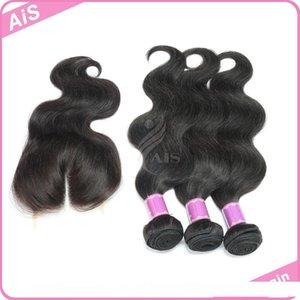 6A Brazilian Human Hair Weft Weave Body Wave 3Pcs With One Lace Closure Peruvian Brazilian Malaysian Indian Hair Bundles Hair Extensions