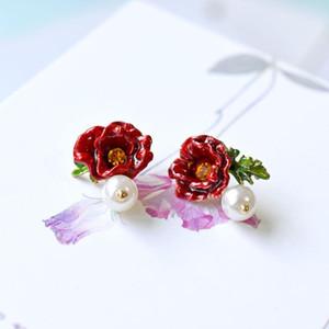 S925 Silver Needle Women Glaze Jewlery Orecchini Perle Orecchini fiore rosso Orecchini per orecchini fiore papavero