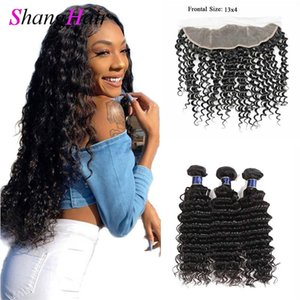 Lace Frontal With 3 Bundles Deep Water Wave Virgin Human Hair Extensions With Ear to Ear Lace Frontal Closure Malaysian Hair Loose Wave