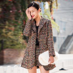Nueva llegada 2019 Lujo Otoño Invierno Trajes de 2 piezas Moda Mujer Plaid Tweed Grueso Cálido Turn Down Collar Blazer Coat + Trajes cortos