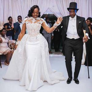 Mermaid Wedding Dresses With Detachable Train Plus Size 2020 African Lace High Neck Long Sleeve Vestidos De Novia Arabic Bridal Gown AL6211
