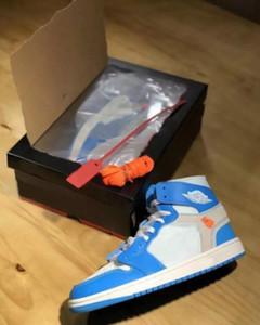 Alta qualità 1 alta OG scarpe da basket bianche blu polvere per uomo 10X Chicago Bred 1s Mens OFF scarpe da ginnastica sportive da ginnastica