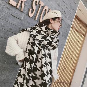 2019 Big Black and White Houndstooth Winter-Schal Frauen Warm Plaid Schal beiläufige Art und Weise Schal Imitation Kaschmirschal