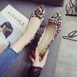 Loafer'lar Nefes Deri Tek Ayakkabı On Artı boyutu 34 ~ 43 Bahar Kadınlar Leopard Düz Ayakkabı Sivri Burun Ballet Flats Bayanlar Kayma