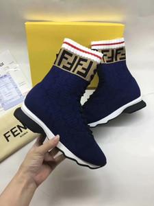 2020 INS HOT Branded femmes stretch Tissu haute multicouleur hauts en cours Sock Sneaker Lady Mania Appliqué Semelle en caoutchouc Chaussures Casual 35-45
