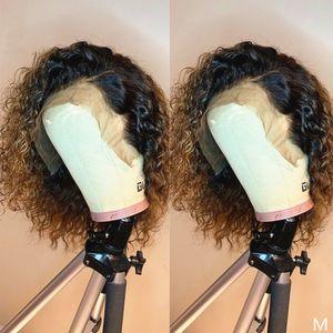 1b / 27 court Kinky Curly 13X6 Lace Front Wigs avec bébé cheveux 360 Lace Frontal perruques pour les femmes noires
