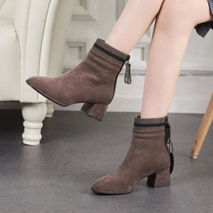 designer New Autumn Winter Women Fashion Casual Ladies Shoes Sock Martin Boots Suede Leather Black Gray High Heeled Motocycle Short Boo4370#