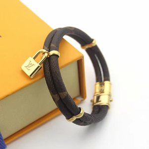 Hochwertiges Armband Doppel echte Leder-Armbänder mit Gold Schloss Frauenarmband Blumendruck pulseira Marken klassischen Schmuck mit Box