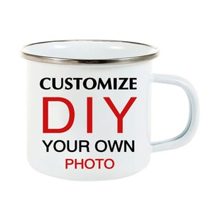 LIQU DIY photo print Enamel MUG stainless steel Coffee Milk Tea Cup Travel mug Unique Gifts For Friend Family
