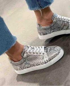 Grey Snake Leather Men Low Sneakers Paris Top Design Red Soles Shoes,Luxury Men And Women Red Bottom Sneakers Without Studs Trainers