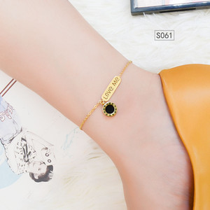 2020 New Round Square Lettering English Letter Anklet Stainless Steel Plated 18K Gold Colorfast S060-3