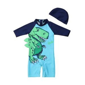 2PCS 1-6Y Toddler Baby Kids Boys Sun Protective Swimwear Cartoon Animal Print Long Sleeve Romper+Hats Costume Bathing Suits