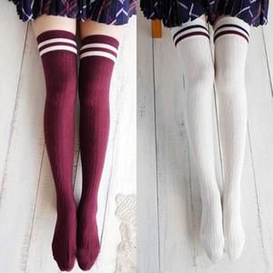 Nuevas señoras sobre la rodilla muslo alto Stocking Womens Stretch Girls rayas Stocking un tamaño