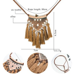 Long Leather Chain Vintage Boho Ethnic Tassel Pendant Necklace For Women Winter Sweater Chain Jewelry Accessories Sales Item