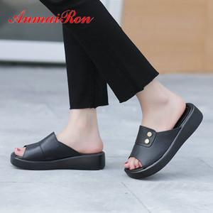 ANMAIRON donne Plus Size Scarpe di cuoio genuini donne designer Solid 2020 Estate Fuori Moda pantofole