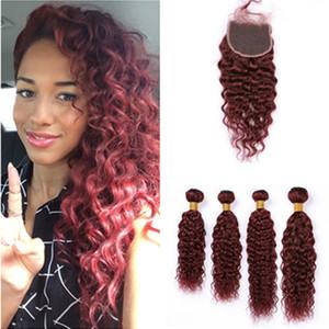 Вино Красное перуанское ткет влажные и волнистые человеческие волосы 4Bundles и закрытие # 99J Бургундия волна воды девственные наращивание волос с кружевной застежкой 4x4