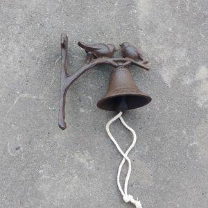 Ferro fundido marrom rústico sino de jantar de boas vindas 2 pássaros pendurados sino de boas vindas sino de jantar artesanato em metal porta montado na parede decoração retro vintage