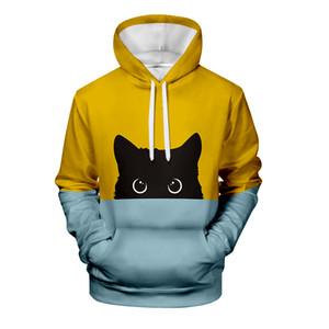 WAMNI mignon de chat noir à capuche 3D Imprimer Homme Pull Femme Automne Survêtement Réchauffez élégant Pussy Sweat-shirts XXS-4XL
