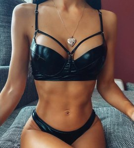2020 Women Push Up Low Waist Bandage Bikini Sets Hollow Out Female Brazilian Bathing Suits Black Swimwear