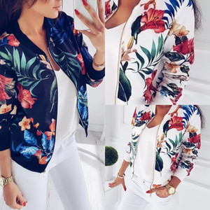 2019 New Winter Women Coat Fashion Ladies Retro Floral Zipper Up Bomber Jacket Casual Coat Spring Autumn Outwear Women Clothes