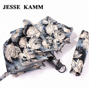 جيسي كام كبير قوي لشخصين التلقائي بالكامل المدمجة أشعة الشمس المطر يندبروف المظلات للنساء السيدات الأزياء