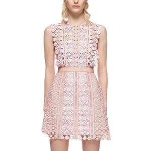 Mulheres verão sem mangas lace runway dresses gancho flores oco out o pescoço a-line curto self portrait dress vestido robe