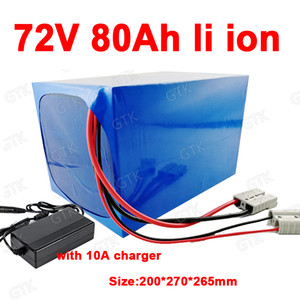 GTK alta capacidade 72 V 80AH Li-ion BMS íon de lítio para 7000W scooter Bilhões de bicicleta Bike Triciclo Motorhome + 10A carregador