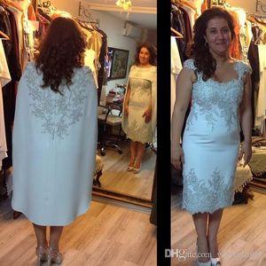 Moda de luxo mãe dos vestidos de noiva com xaile 2016 mangas curtas apliques de renda de cetim mulheres vestido de noite formal desgaste