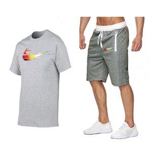 Hombres corrientes Verano Fahion de diseño de chándal de los hombres dos sudaderas traje de una pieza macho camiseta + pantalón corto para hombre del traje ropa deportiva ropa de moda del basculador