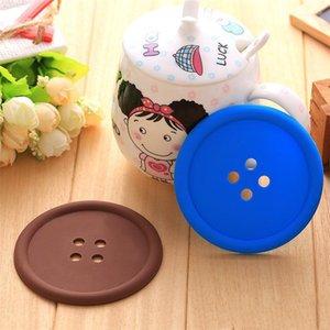 Горячие кнопки формы Таблица Мат Силиконовые Круглые Подстаканники Симпатичные кнопки Кубка Мат Random Color Home Пейте Placemat Посуда Coaster Чашки мышек