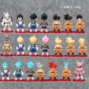 21 Pcs Lot Dragon Ball Z Goku Gogeta Vegeta Frieza Vegetto Super Saiyan God Fight PVC Anime Figure Collectible Model 7-8cm Y200703