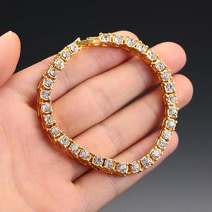 1Pcs Cristal Row Tênis Chain Link de ouro brilhante Jóias Acessórios Mens Bracelet Hip Hop Fora Individual Dropship