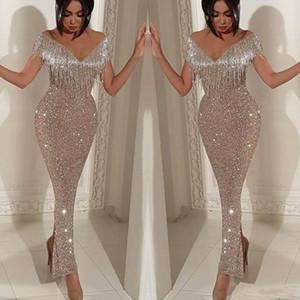 Glänzende Pailletten-Meerjungfrau-Abschlussballkleider 2019 Arabisch Elegant Schulterfrei Quaste Abendkleider Knöchellänge Split Cocktail Party Kleider
