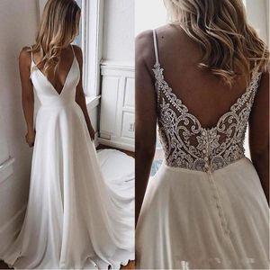 Vestidos de boda de la gasa de una línea de Bohemia Beach 2020 cuentas apliques formal Vestidos de novia barato novia de encargo vestido de Vestidos de novia
