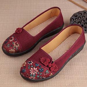 Deslizamento Moda Mulheres Flats Flor na lona de algodão Imprimir confortável Old Peking Ballerina Flat Shoes Sapato feminino