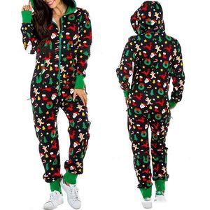 Women Christmas Jumpsuits 6 styles Winter Warm rompers Long Sleeve Hooded Zipper jumpsuits Lady Print Jumpsuit Homewear Wholesale BJY978