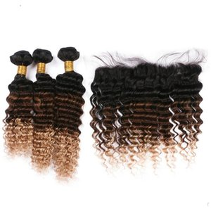 Silanda Hair Ombre 컬러 T 1B / 4 / 27 Deep Wave Remy Human Hair Weaves 3 Weaving Bundles 13x4 레이스 정면 클로저 무료 배송