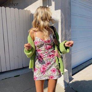 Nibber Boho цветочные мини платья женщин Элегантный Корейский уличный стиль повседневной одежды летом моды Пляжный отдых Bodycon платье фам