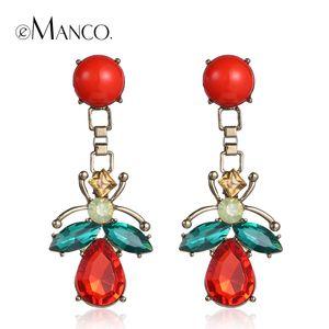 Red crystal long drop earrings colorful dangle earrings for women 2016 geometric series female brinco eManco ER50630 Y200323