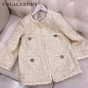 Sonbahar kış yeni kadın ceket yün Tweed O-boyun cebi ceket üst düz renk Narin, zarif kadın ceket