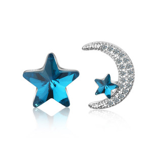 ED659 Earrings Designer Jewelry Fashion Valentine's Day Gifts earnail blue crystal star and white moon lovely