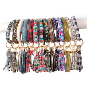 PU Leather Bracelet Keychain Women Fashion Leopard Bufflao Plaid Wristlet Keychain Tassel Bangle Keychain Wristband Novelty Items OOA7366