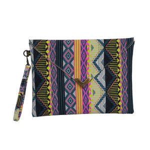 Art und Weise Frauen-Umschlag-Kupplungs-Handtaschen-Geldbeutel-Leinwand-Taschen-Handtasche geometrisches Muster Bohemian Dame Embroided Nationale Abendtasche