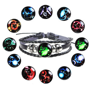12 Constellations starry sky Bracelet Handmade leather luminous bracelets Zodiac Glass Charm Bracelet for Christmas present Free shipping